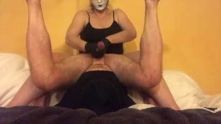 Femdom Masked Mistress milking cock with gloves